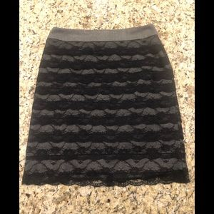 Grey & Black Lace Overlay Pencil Skirt